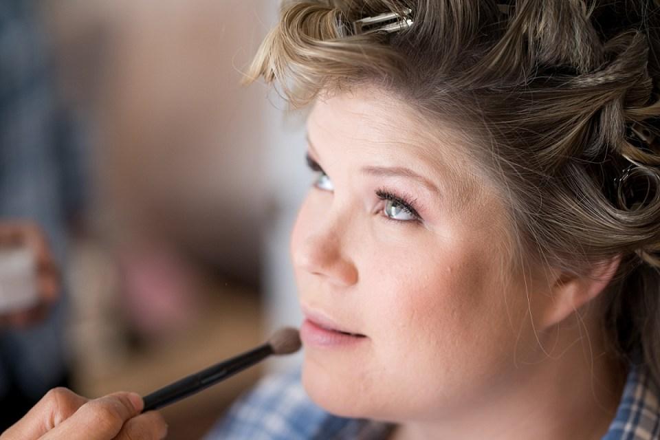Bridal Hair and Make-up Artist, Carla Pressley doing hair and makeup at 48 Fields in Leesburg, VA