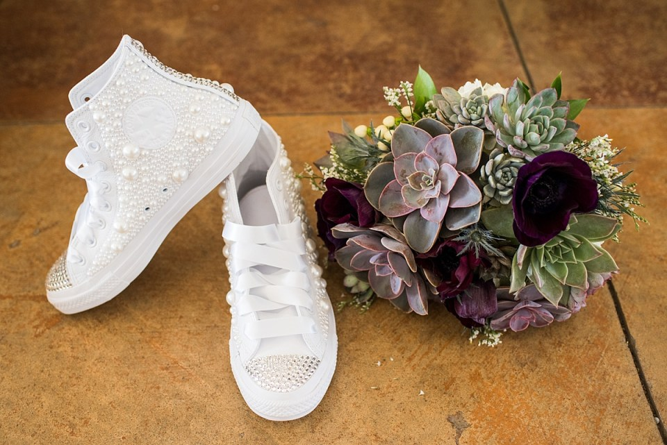 DIY Bridal Chuck Taylors, Wedding Shoes at Briar Patch B & B in Middleburg, VA by Erin Tetterton Photography