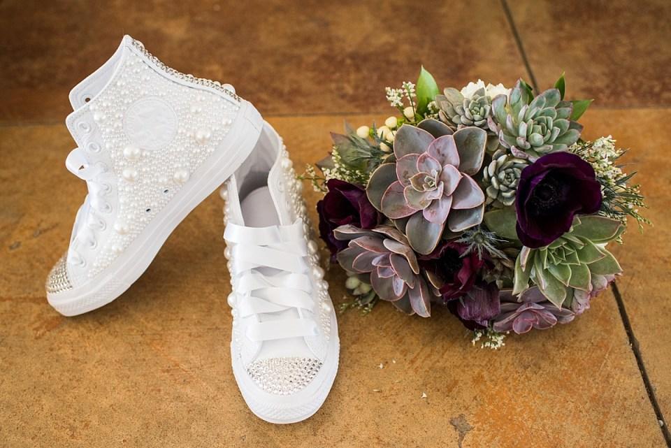 DIY Bridal Chuck Taylors, Wedding Shoes at Briar Patch B & B in Middleburg, VA by Erin Tetterton Photography