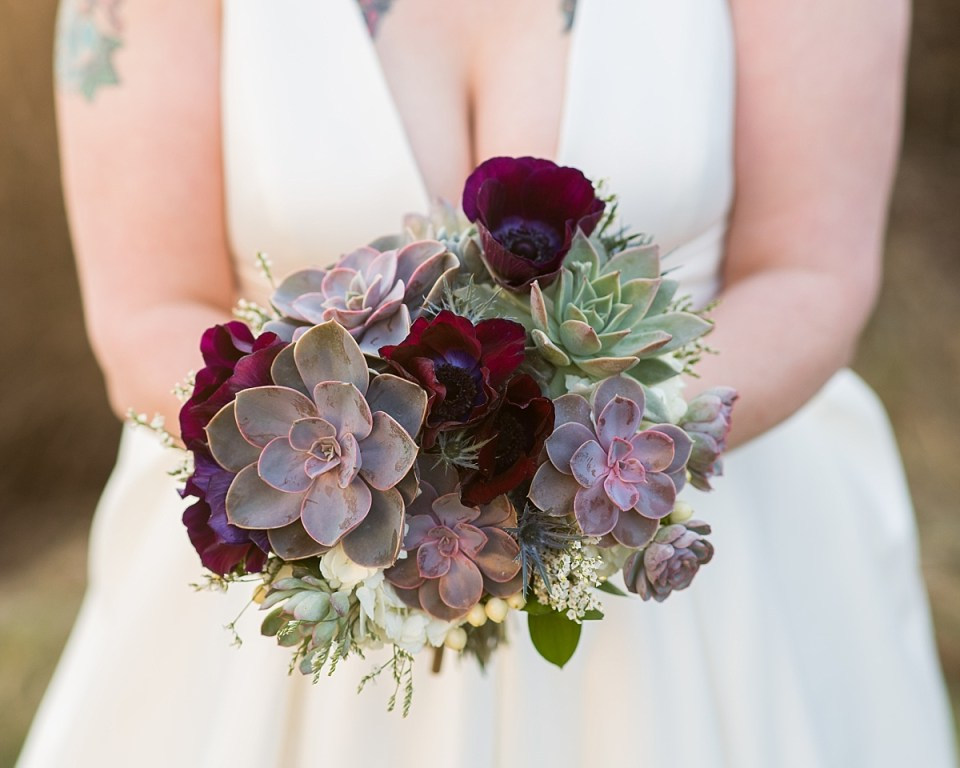Succulent Wedding Bouquet at Briar Patch Bed and Breakfast Wedding