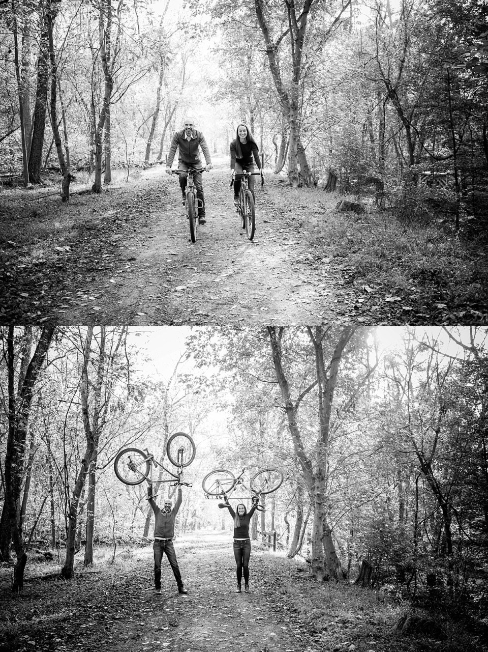 Bike Riding Engagement Session on Billy Goat Trail, Maryland