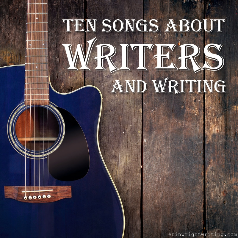 Ten Songs About Writers and Writing | Image of Blue Guitar against Wood Fence