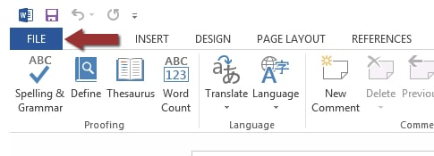 Word 2013 File tab