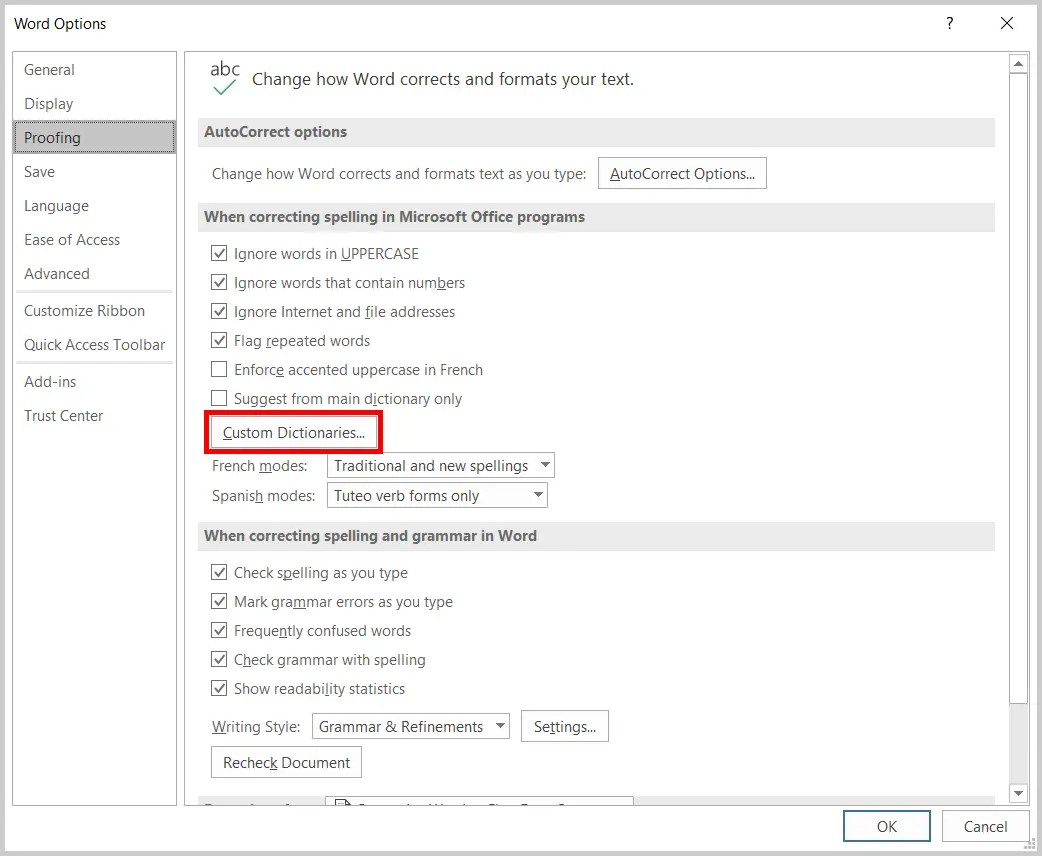 Image of the Word Options Dialog Box Custom Dictionaries Button | Step 4 in How to Edit Your Custom Dictionary in Word
