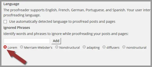 Step 2: How to Edit Your Ignored Words and Phrases in WordPress