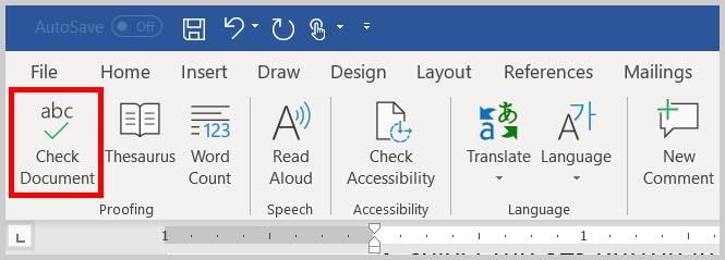 Image of Word 365 / Word 2019 Check Document Button in the Ribbon | Four Tips for Using the Spelling and Grammar Check in Word
