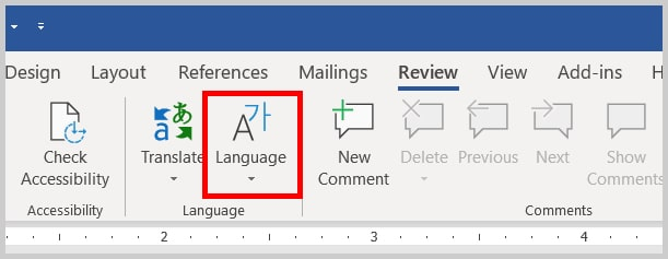 Image of Word 365 / Word 2019 Language Option in the Ribbon | Four Tips for Using Track Changes in Word
