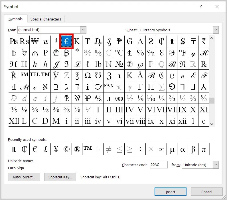 Image of Word 2019 / Word 365 Euro in the Symbol Dialog Box | Step 7 in How to Insert Currency Symbols in Word