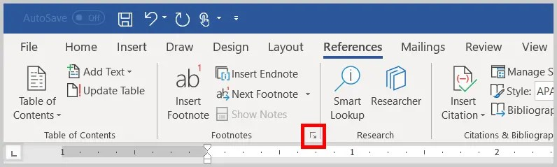 Image of Word 356 / Word 2019 Footnote and Endnote Dialog Box Launcher   Step 3 in How to Insert Footnotes and Endnotes in Word