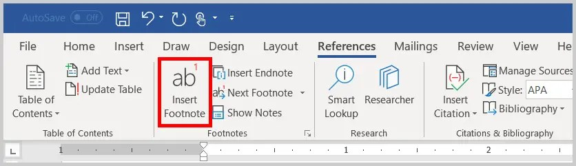 Image of the Word 365 / Word 2019 Insert Footnote Option in the Ribbon | Step 9 in How to Insert Footnotes and Endnotes in Word