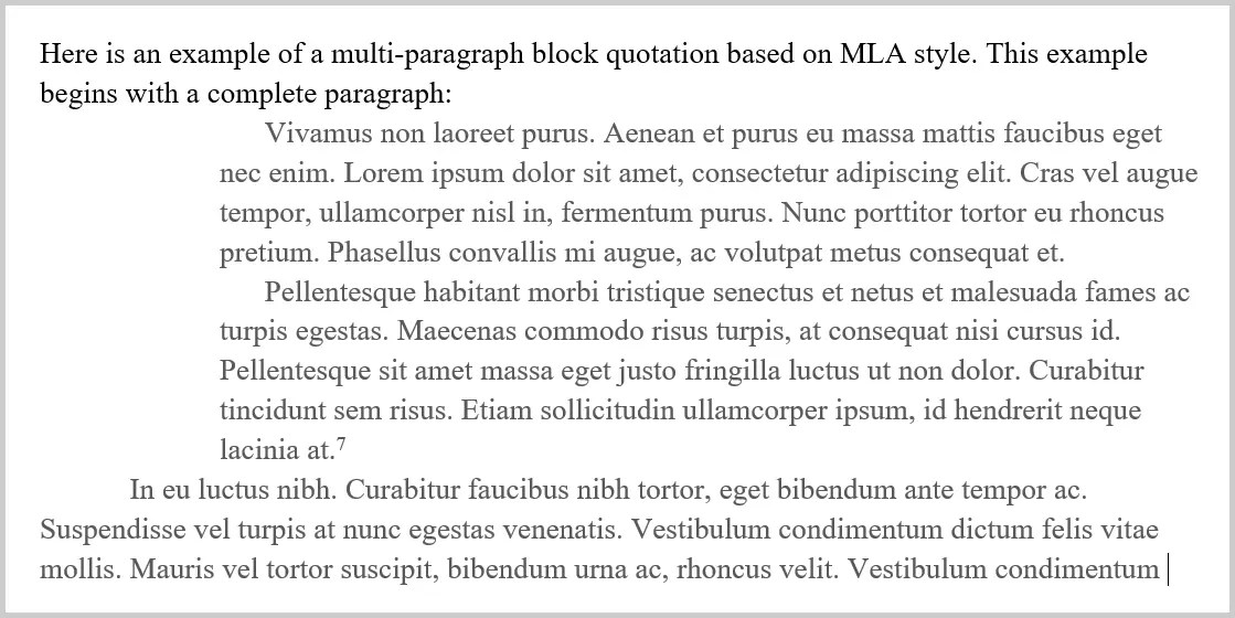 How to Format Block Quotations: Block Quotation Starting with Complete Paragraph MLA Style