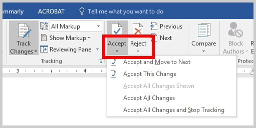 Word 2016 Accept or Reject Track Changes Down Arrows
