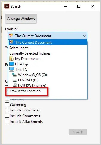 Image of Adobe Acrobat DC Advanced Search Dialog Box Look In Menu Browse for Location   How to Search Multiple PDFs with Adobe Acrobat's Advanced Search