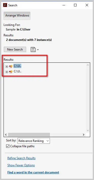 Image of Adobe Acrobat DC Advanced Search Results | How to Search Multiple PDFs with Adobe Acrobat's Advanced Search