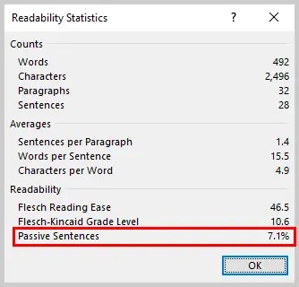 Image of Word 2016 Readability Statistics Dialog Box with Passive Sentences | How to Use the Passive Voice Tool in Microsoft Word 2016