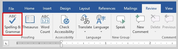 Image of Word 2016 Spelling & Grammar Check Button | How to Use the Passive Voice Tool in Microsoft Word 2016