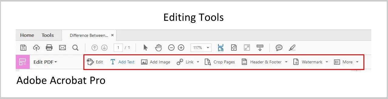 Image of Adobe Acrobat Pro Editing Tools | Three Differences between Acrobat Reader and Acrobat Pro
