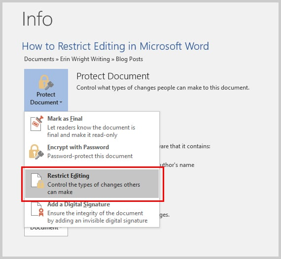 Microsoft Word 2016 Restrict Editing Option in the Backstage View | How to Restrict Editing in Microsoft Word