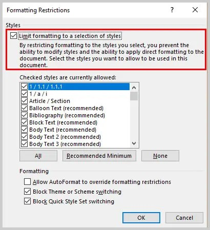 Microsoft Word 2016 Formatting Restrictions Dialog Box Limit Formatting Option | How to Restrict Style Changes in Microsoft Word