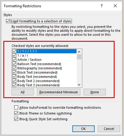 Microsoft Word Formatting Restrictions Dialog Box Styles Currently Allowed | How to Restrict Style Changes in Microsoft Word