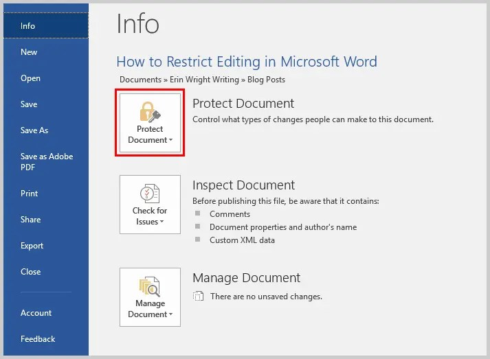 Microsoft Word 2016 Protect Document in Backstage View | How to Restrict Style Changes in Microsoft Word
