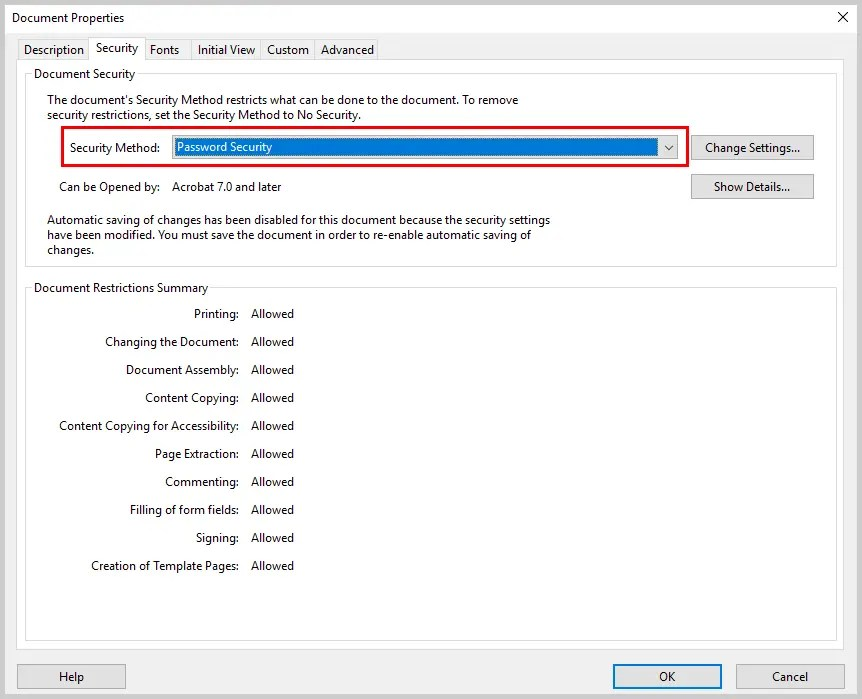 Image of Adobe Acrobat Document Properties Dialog Box Security Method | How to Restrict Editing in Adobe Acrobat