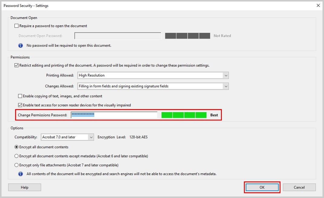 Image of Adobe Acrobat Password Security Dialog Box Password Textbox | How to Restrict Editing in Adobe Acrobat