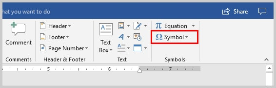 Image of Microsoft Word 2016 Symbol Option on Insert Tab | Step 3 in How to Insert Copyright, Trademark, and Registered Symbols in Microsoft Word