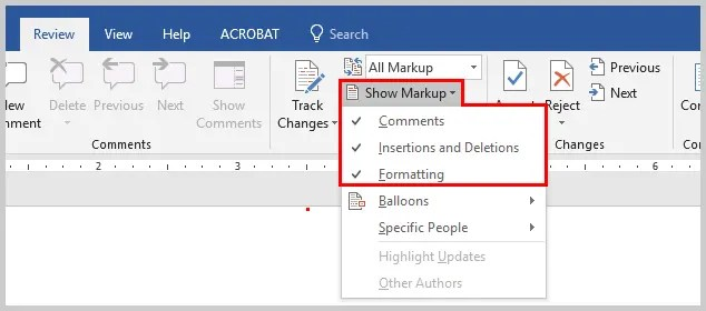 Image of Microsoft Word Show Markup Drop-Down Menu | How to View Specific Reviewers' Comments and Edits in Microsoft Word