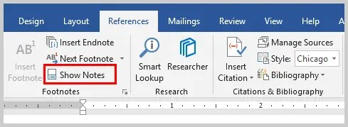 Image of Microsoft Word Show Notes Option | How to Convert Individual Footnotes to Endnotes