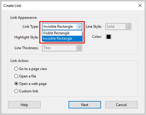 Image of Acrobat's Create Link Dialog Box Link Types   How to Create External Links in PDFs with Adobe Acrobat