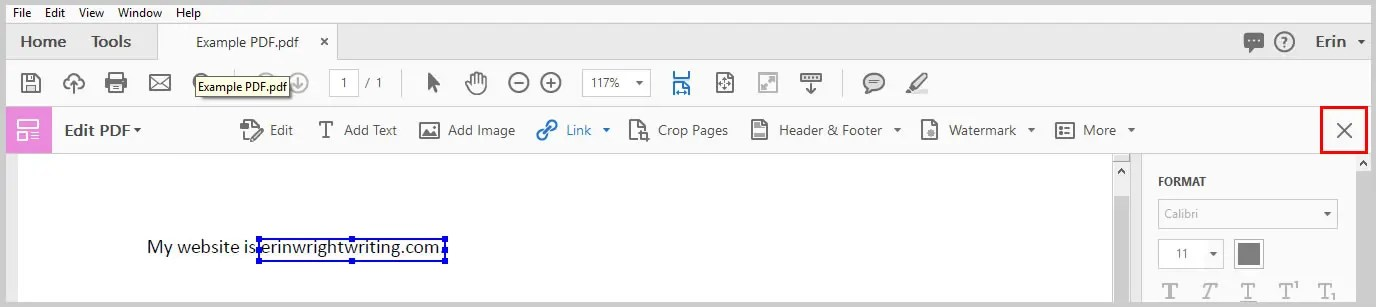 Image of Adobe Acrobat Edit PDF Toolbar Closing X   How to Create External Links in PDFs with Adobe Acrobat