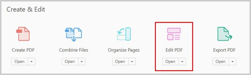 Image of Adobe Acrobat Edit PDF Icon | Step 2 in How to Create Internal Links in PDFs