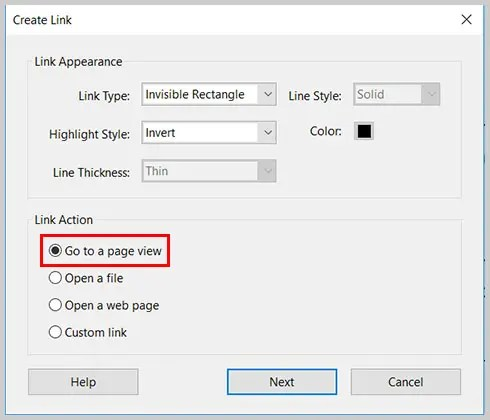 Image of Go to a page view option | Step 7 in How to Create Internal Links in PDFs