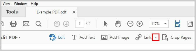 Image of Adobe Acrobat Link Down Arrow | Step 3 in How to Create Internal Links in PDFs
