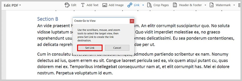 Image of selected view | Step 10 in How to Create Internal Links in PDFs