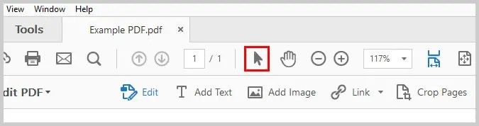 Image of Adobe Acrobat Selection Tool | Step 11 in How to Create Internal Links in PDFs