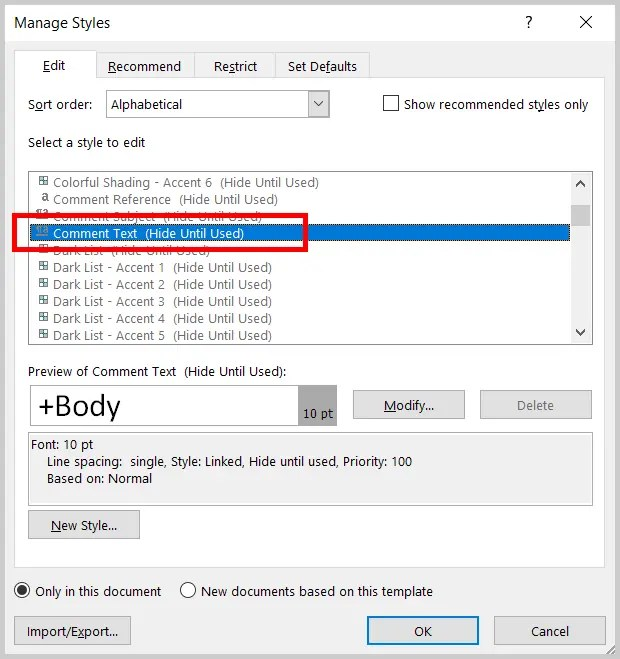 Image of Word 2019 Manage Styles Dialog Box Select a Styles to Edit Menu with Comment Text Selected | Step 5 in How to Change the Font and Font Size of Comments in Word