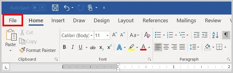Image of Word File Tab | Step 1 in How to Find Extra Spaces in Word by Customizing Proofing Options