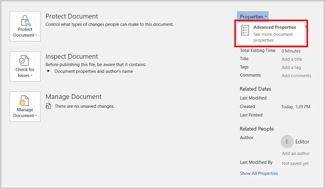 Image of Word 365 / Word 2019 Backstage View Advanced Properties Link | Step 4 in How to Add Tags in Word through Advanced Properties
