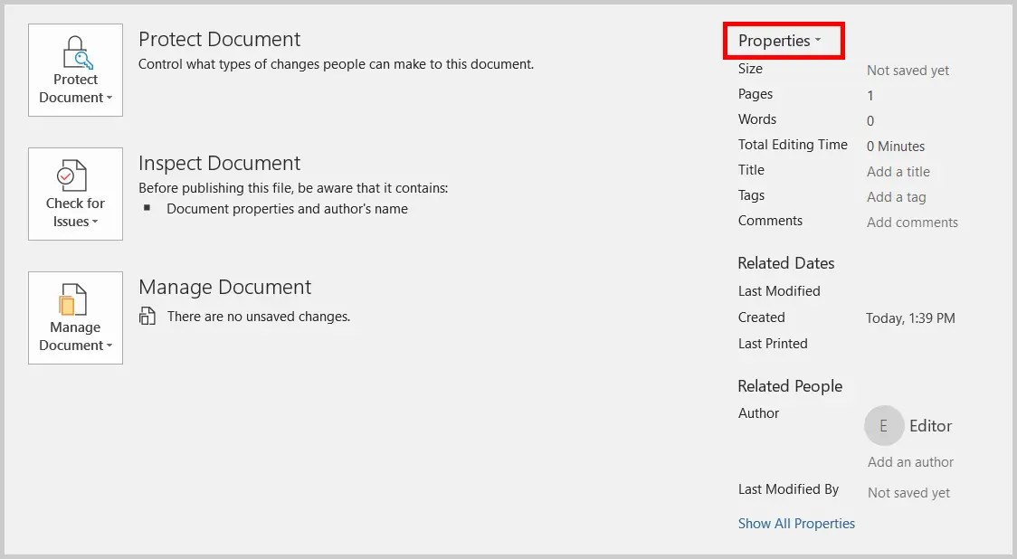 Image of Word 365 / Word 2019 Backstage View Properties Heading | Step 5 in How to Add Tags in Word through Advanced Properties