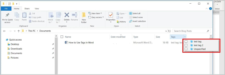 Image of Windows File Explorer Tag Menu