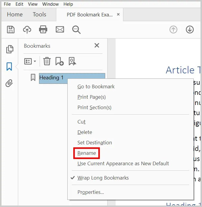Image of the Rename Bookmark Option in Adobe Acrobat