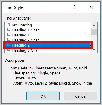Image of Word 365 / Word 2019Heading 2 in the Find Style Dialog Box | Step 7 in How to Find and Replace Formatting Applied to Specific Text in a Word Document