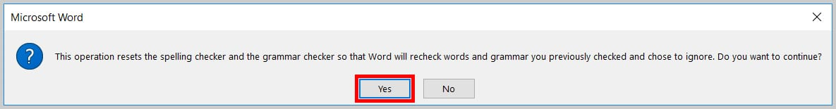 Image of the Reset Spelling and Grammar Check Dialog Box in Word 2019 / Word 365