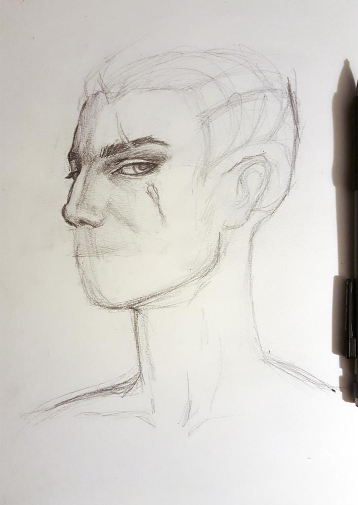 Kadrian Ayzhus pencil sketch in progress part 1