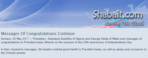 Flood Of Congrats Messages To Eritrea Tyrant! Wow! Any