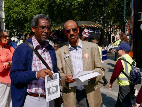 Eritrea Focus and Freedom United protest at Chelsea Flower Show against M&G's involvement in Eritrea