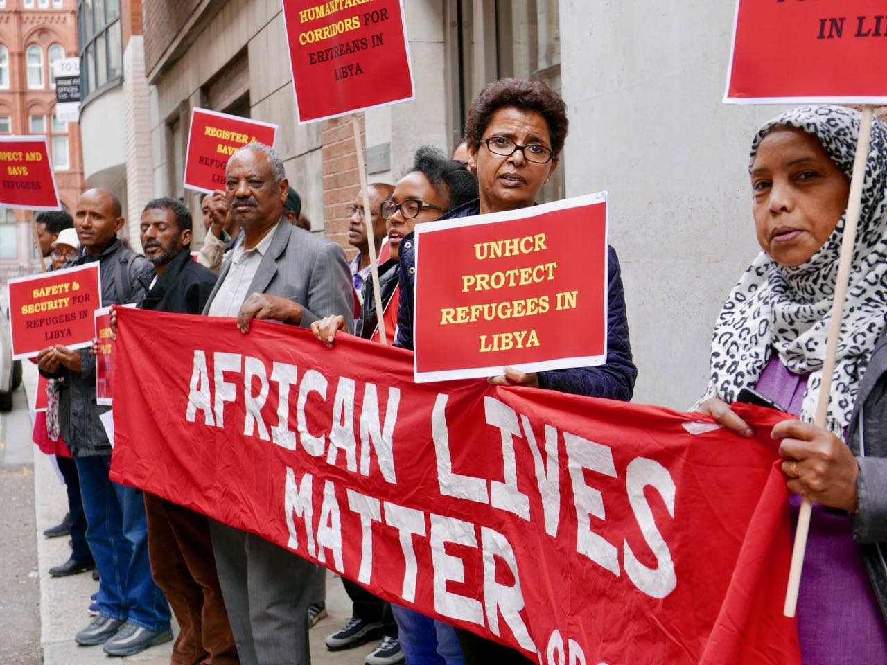 Eritrean community demonstrates outside UNHCR over refugees in Libya