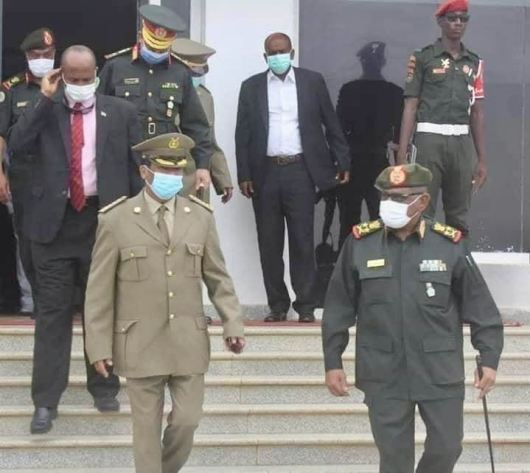 Gen Philipos (front left) in Sudan with delegation 19 July 2020